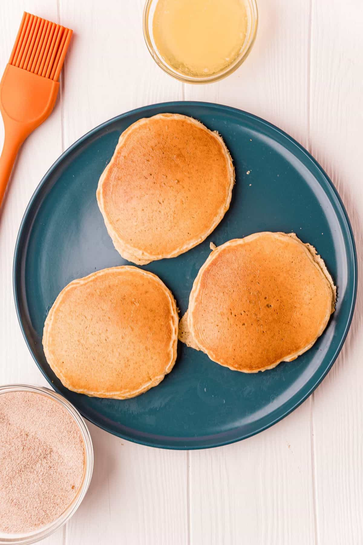Cooked pancakes on a plate.