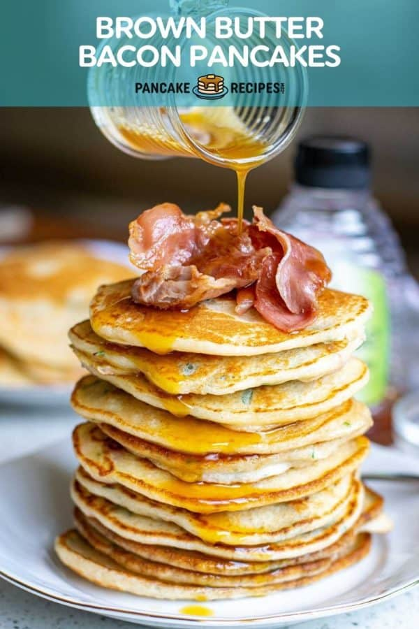 """Stack of pancakes topped with bacon, text overlay reads """"brown butter bacon pancakes, pancakerecipes.com"""""""