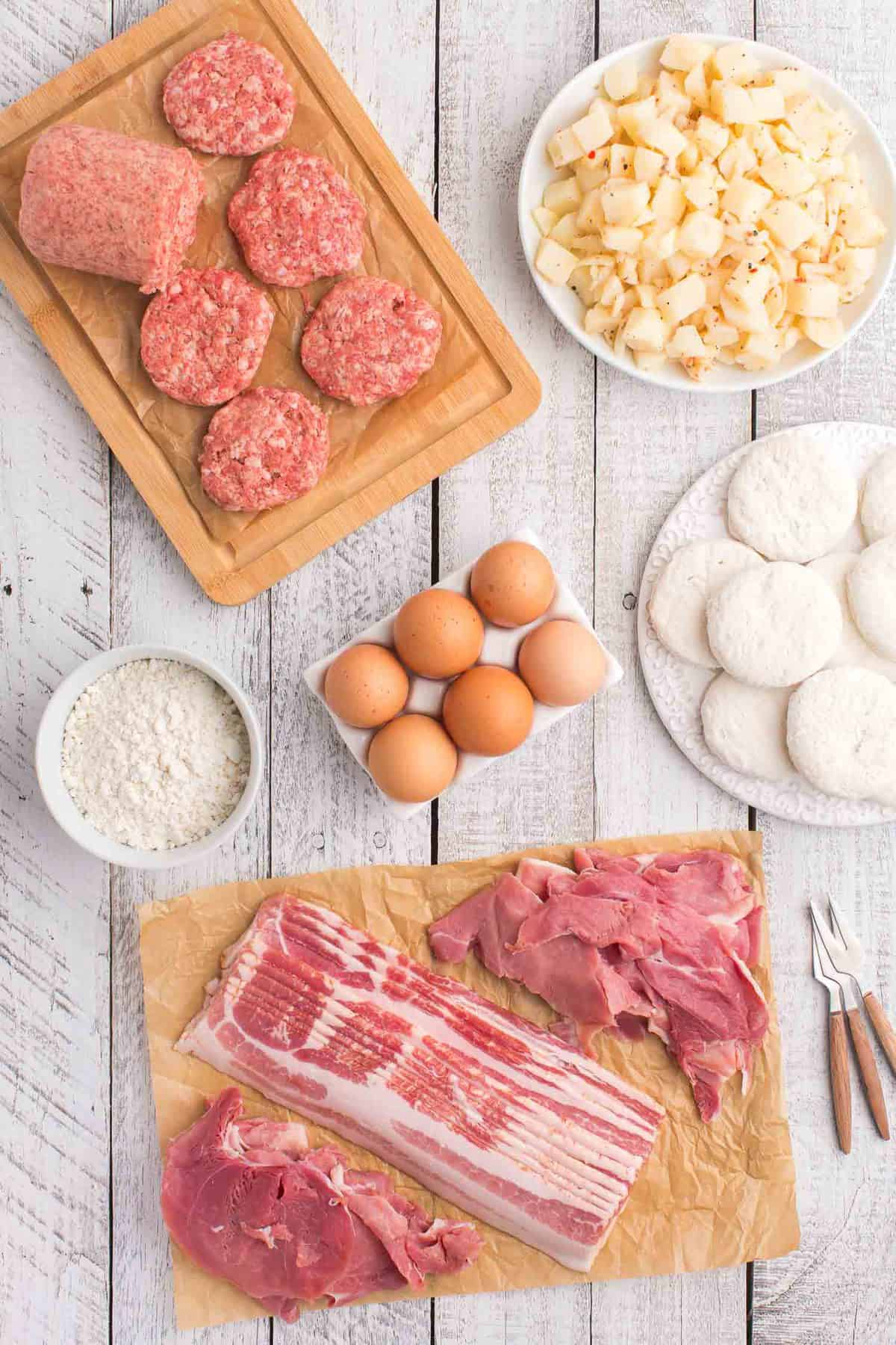 Assorted ingredients needed to make a father's day breakfast board.