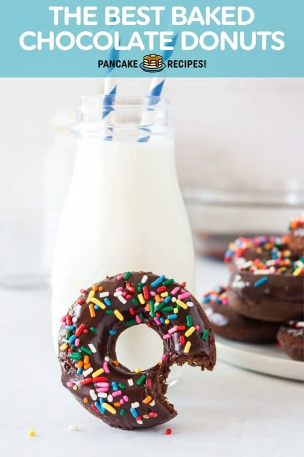 """Donut in front of milk, text overlay reads """"the best baked chocolate donuts, pancakerecipes.com"""""""