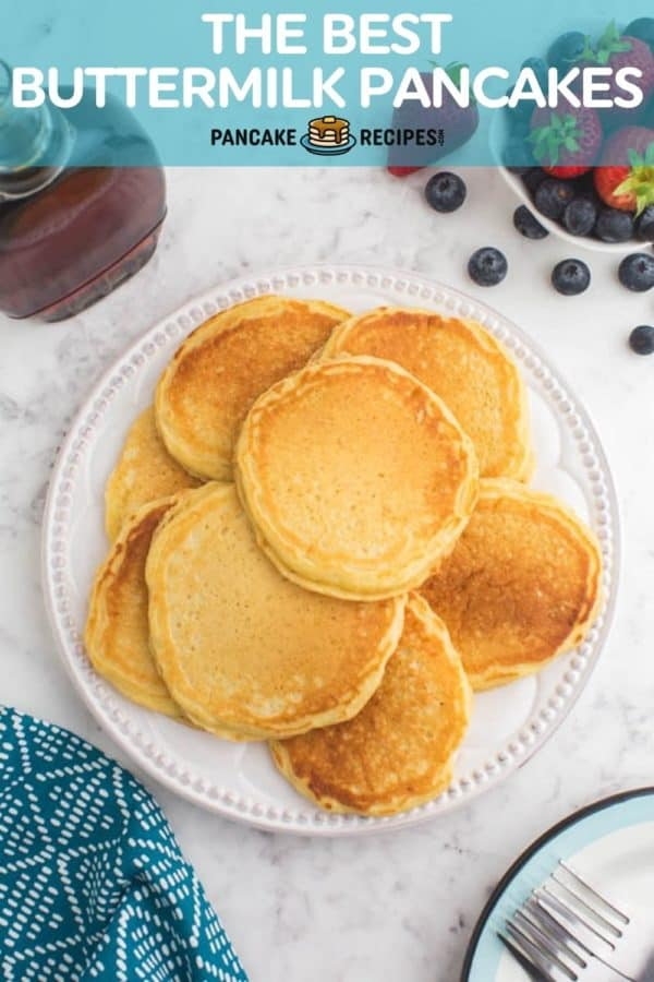 """Pancakes on a white plate, text overlay reads """"the best buttermilk pancakes, pancakerecipes.com."""""""