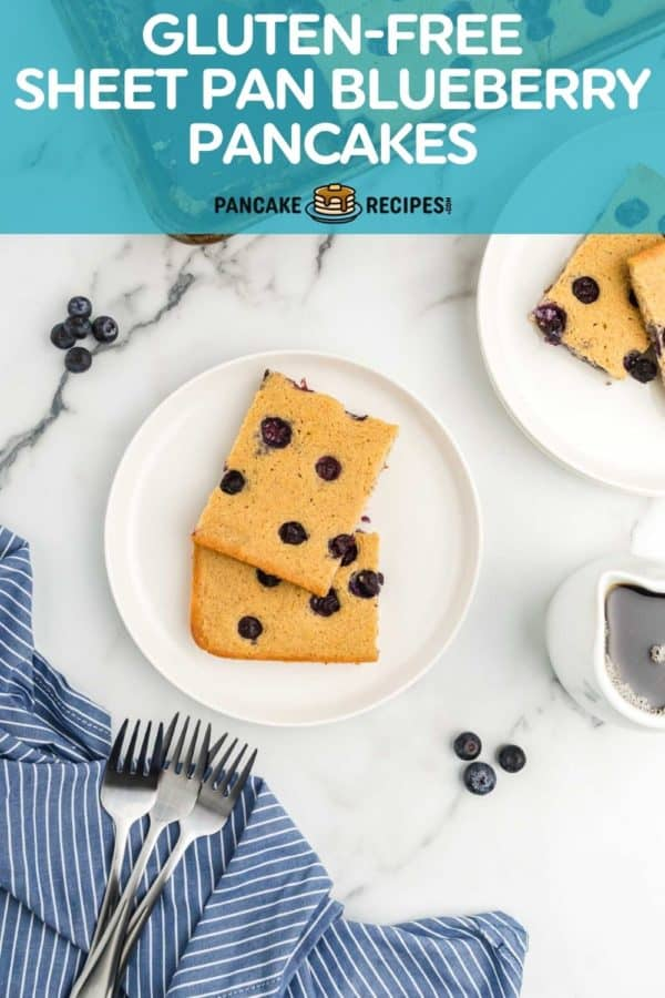 """Overhead view of square pancakes on a white plate, text overlay reads, """"gluten-free sheet pan blueberry pancakes, pancakerecipes.com."""""""