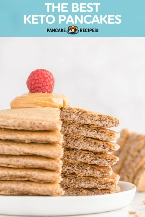 """Stack of pancakes with a raspberry on top, text overlay reads """"the best keto pancakes, pancakerecipes.com."""""""