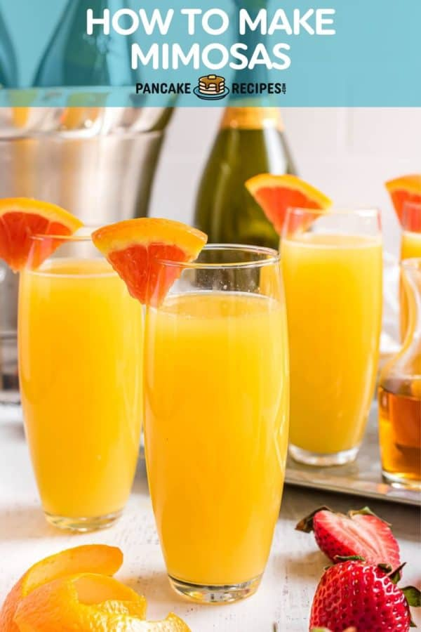 "Three orange cocktails, text overlay reads ""how to make mimosas, pancakerecipes.com."""