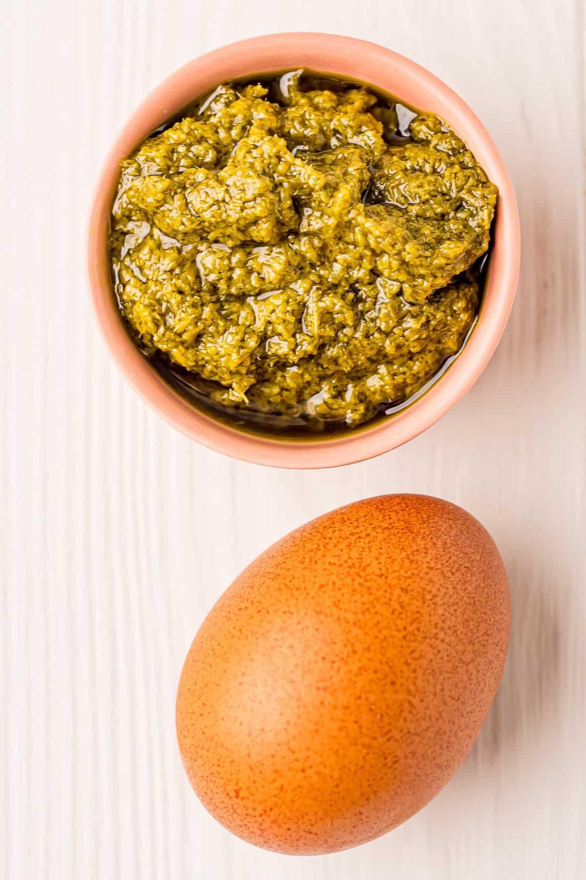 Pesto and an egg