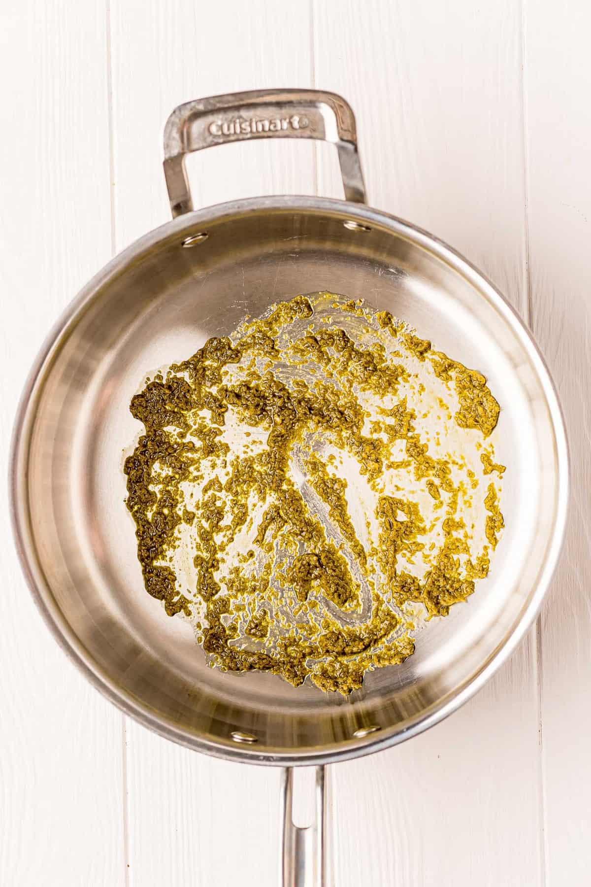 Pesto in a frying pan