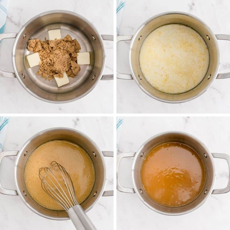 4 images of rum sauce being made.