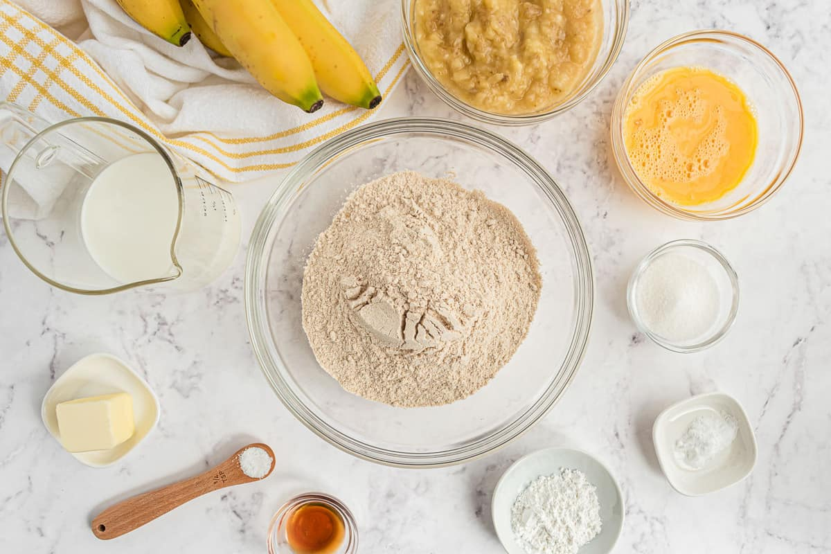 Overhead view of ingredients needed to make pancakes.