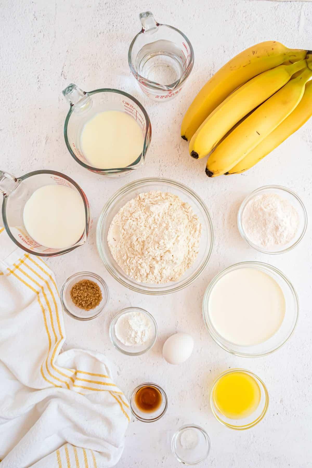 Overhead view of ingredients needed, including bananas.