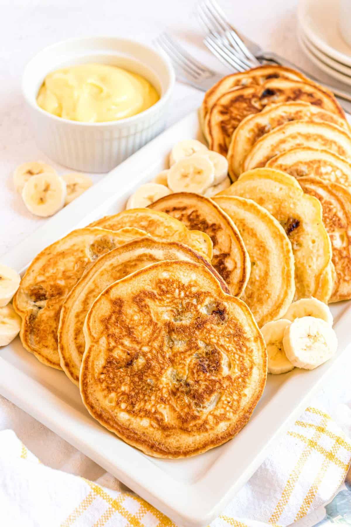 Pancakes on a platter.