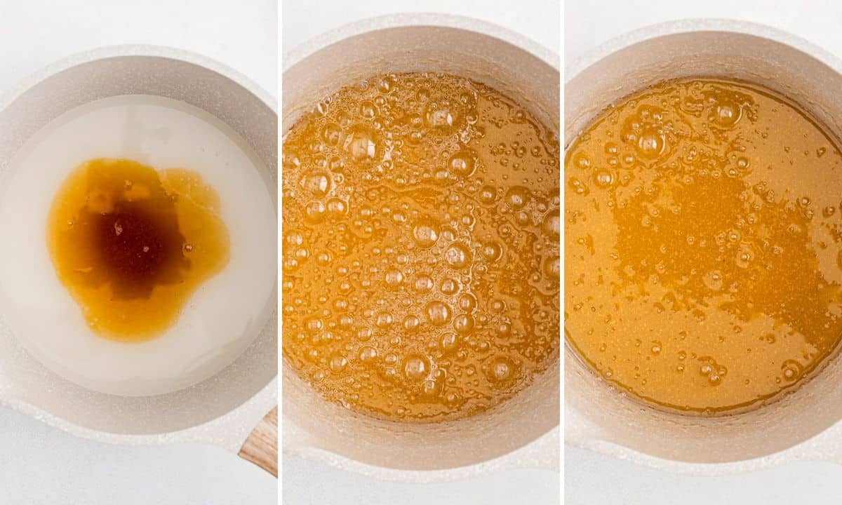 3 images showing how to make caramel