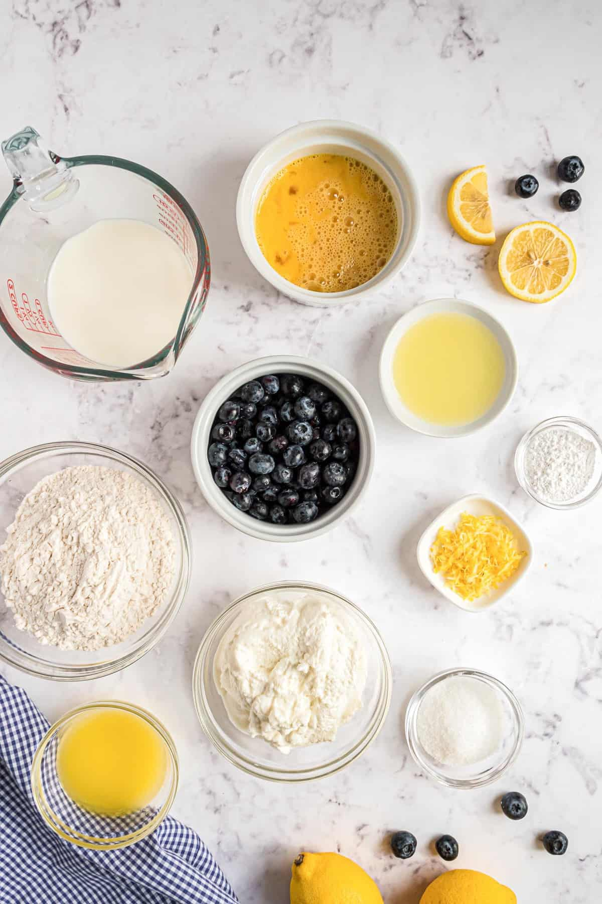 Overhead view of ingredients to make lemon blueberry ricotta pancakes.