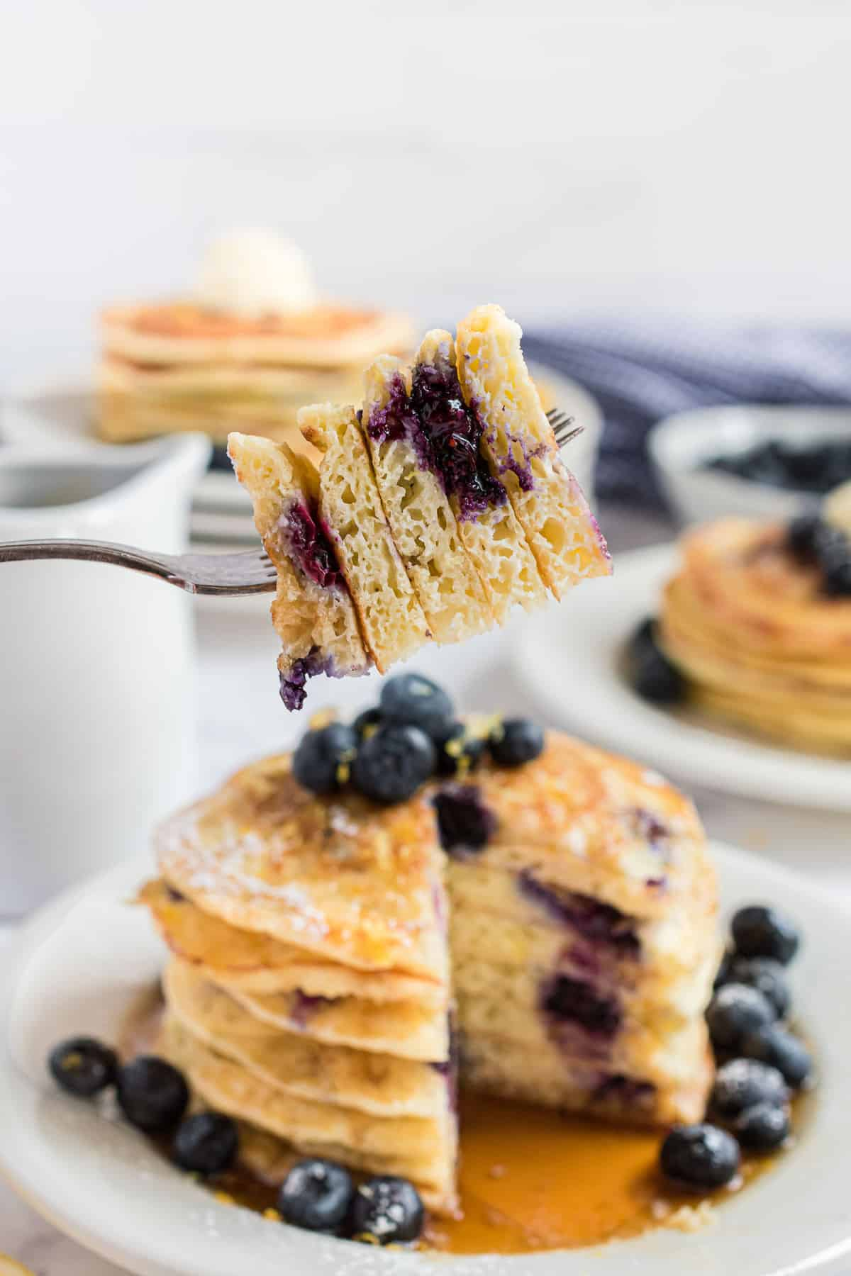 Pancakes on a fork to show texture.