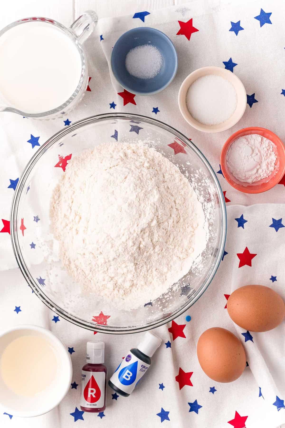 Overhead view of ingredients.