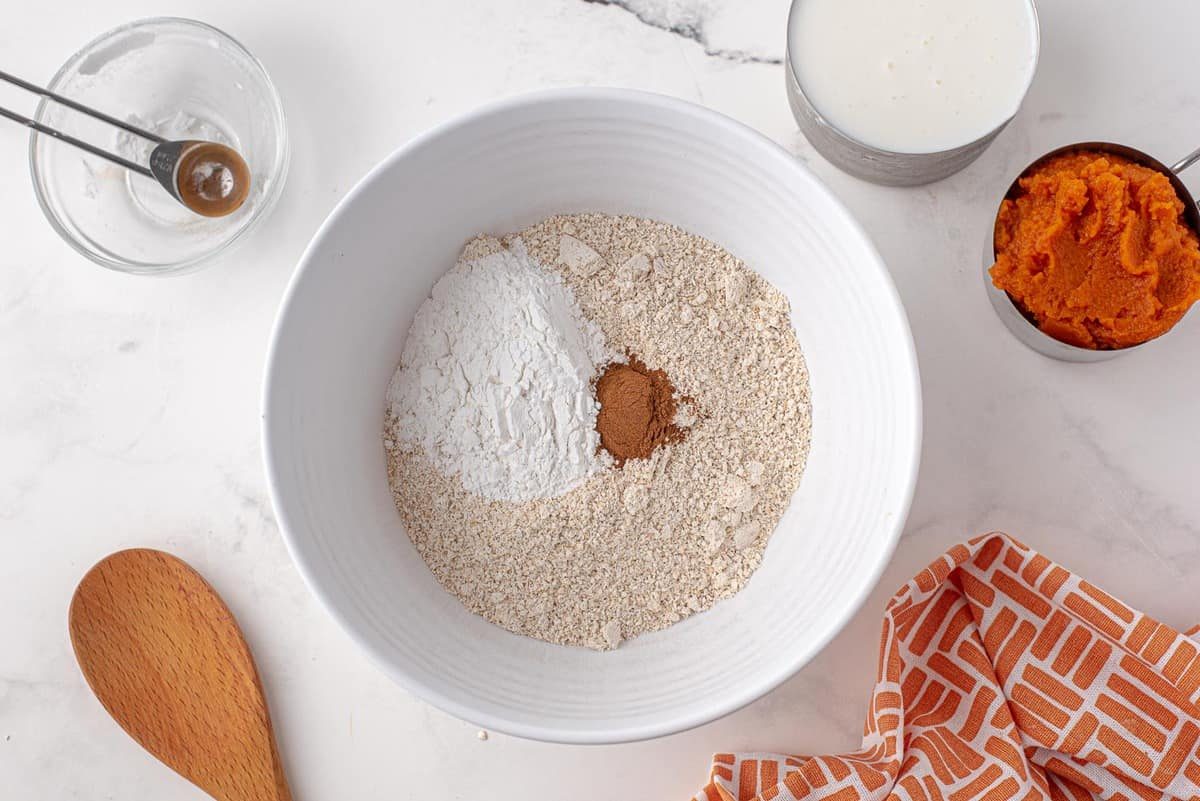 Dry ingredients in a white mixing bowl.