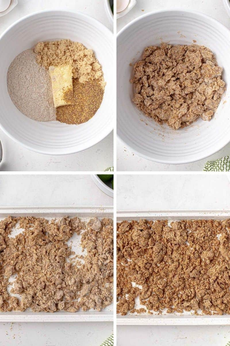 Step by step photos showing how to make graham crumble.