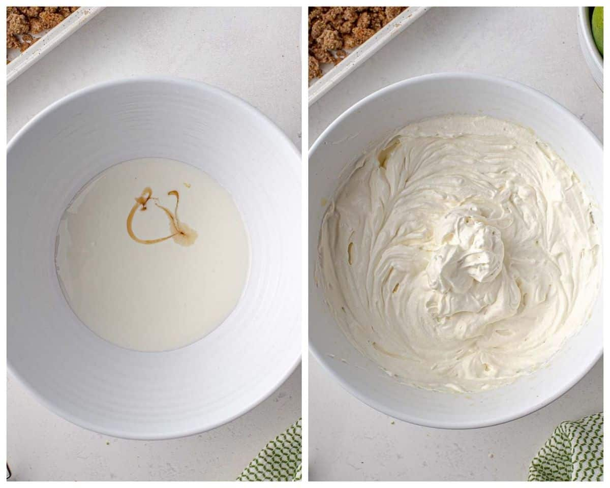 Whipped cream before and after being whipped.