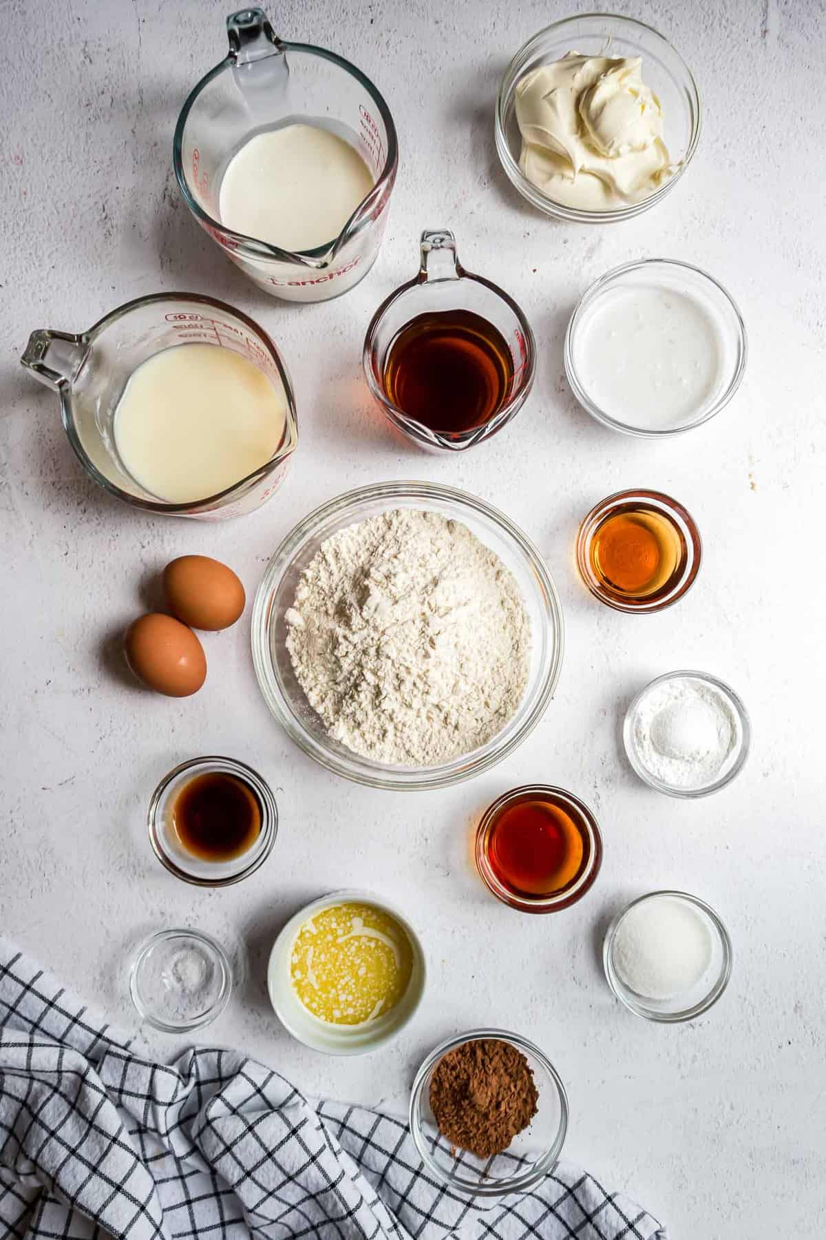 Overhead view of ingredients needed to make pancakes with mascarpone filling.