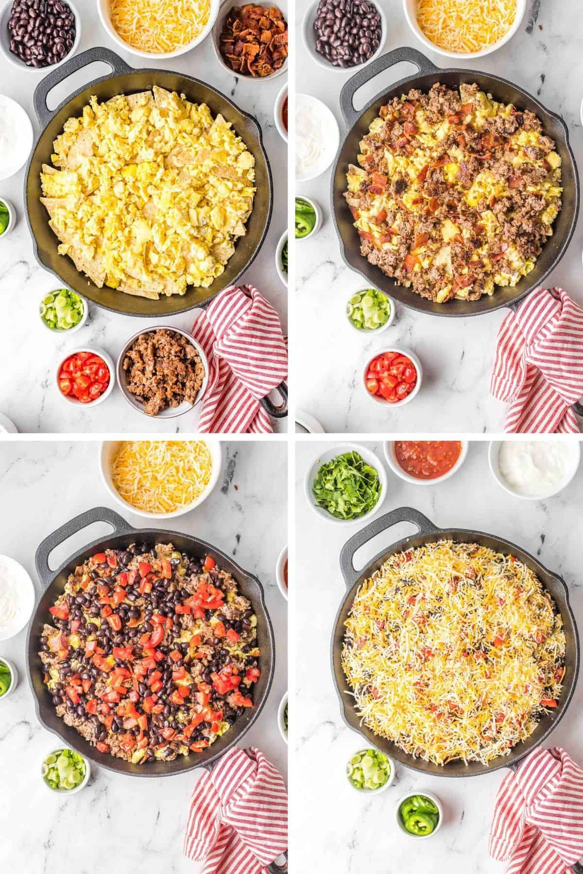 Four steps showing layering of nachos.