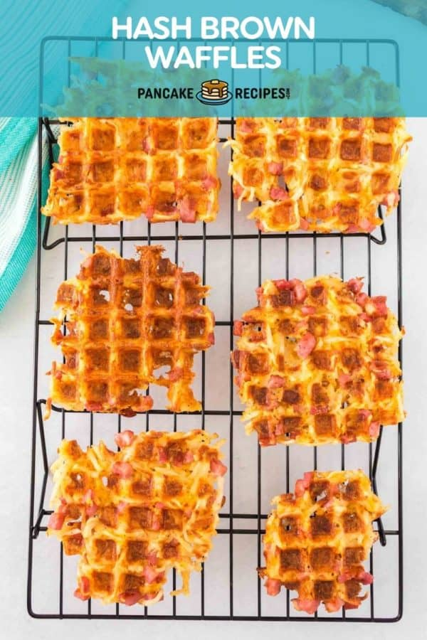 """Waffles with a text overlay that reads """"hash brown waffles."""""""