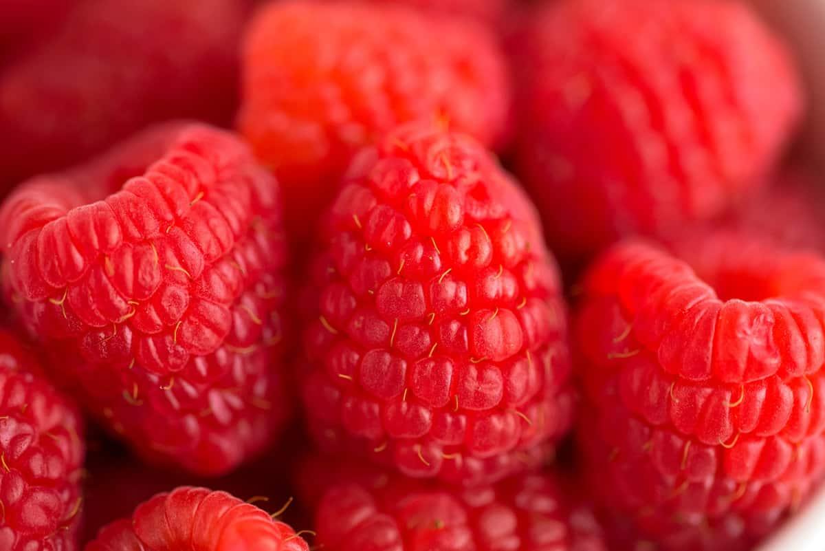Close up of fresh raspberries.