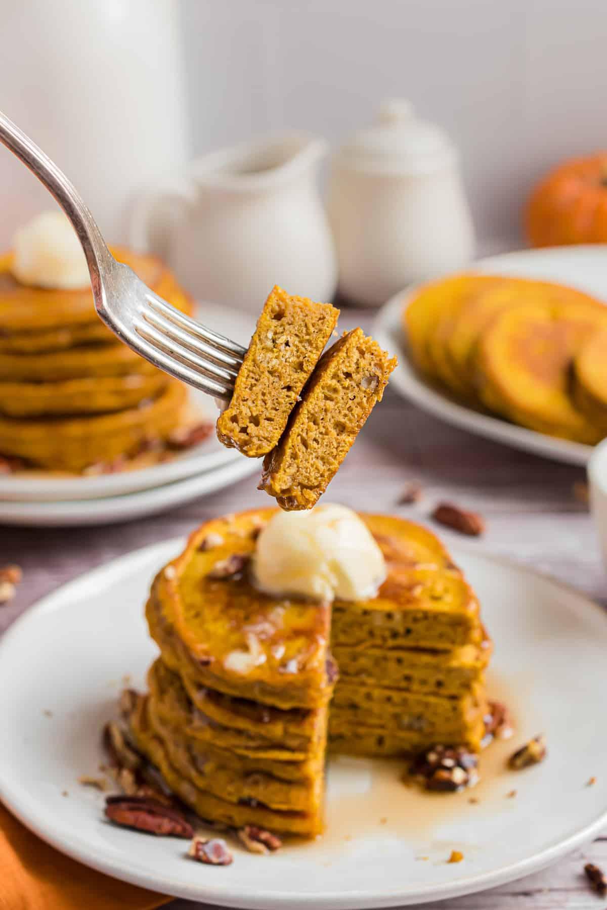 Pancake wedges on a fork.
