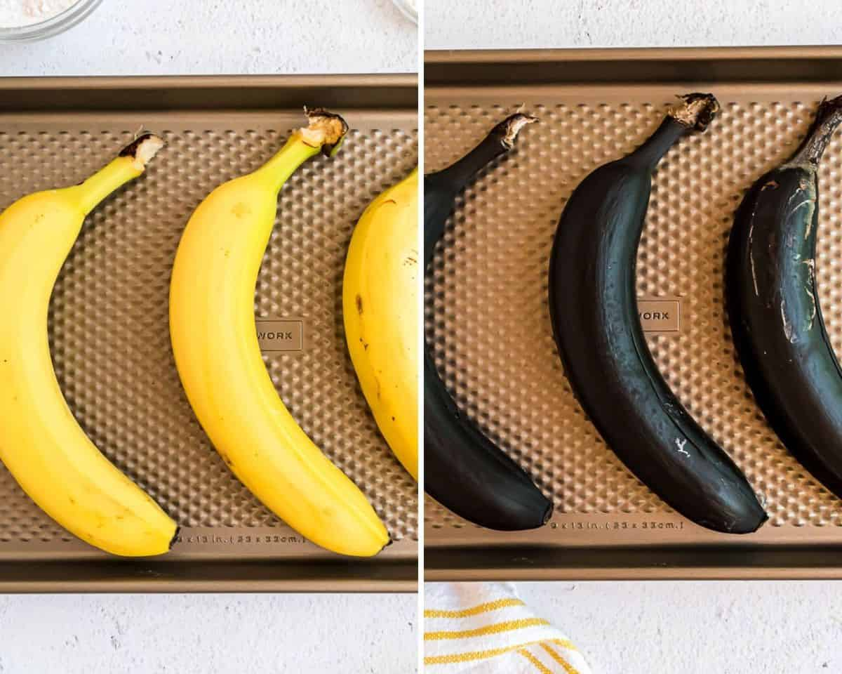 Bananas before and after baking.