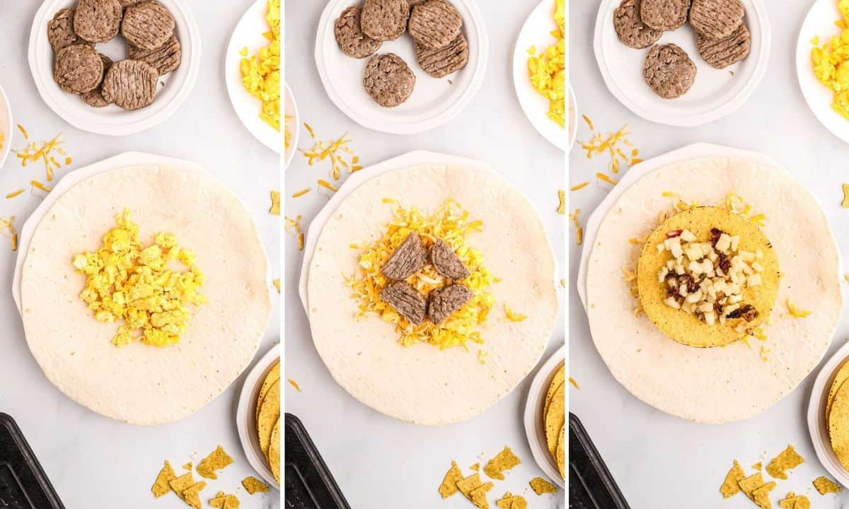 Steps to filling a breakfast crunchwrap.