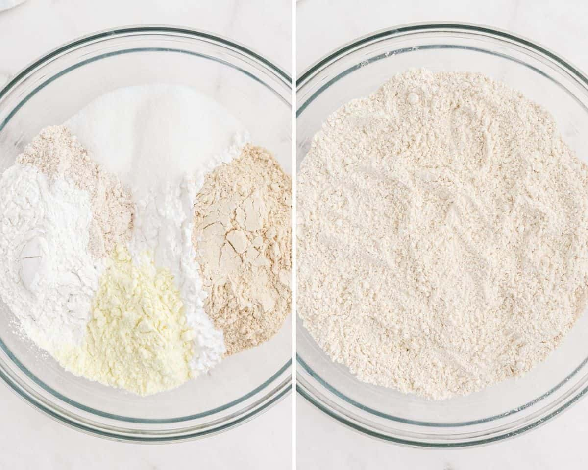 Dry ingredients not mixed, left, and mixed, right.