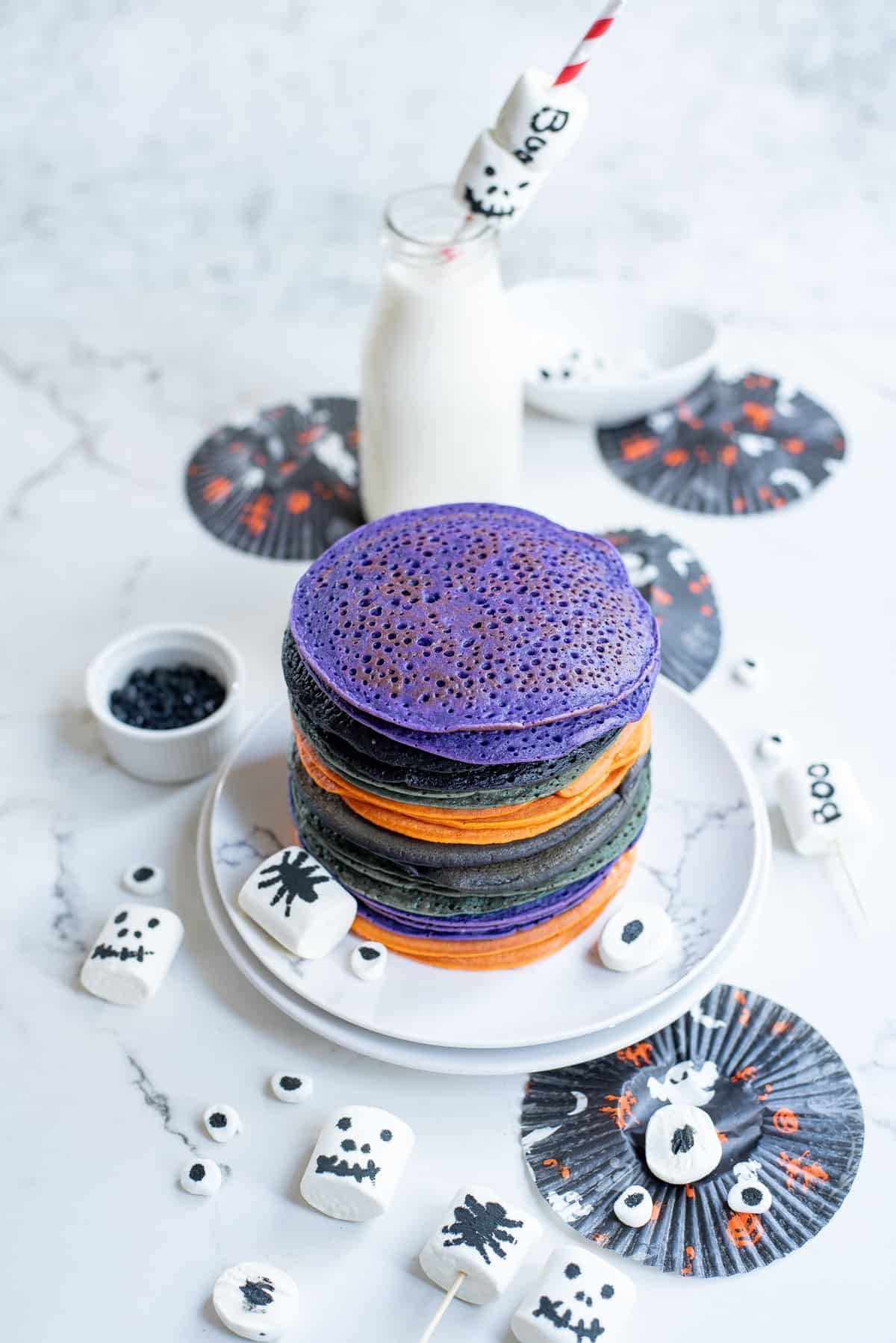 Colorful pancakes with no toppings.