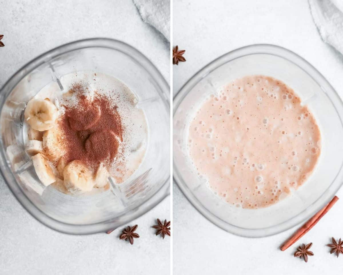 Smoothie before and after blending in a blender.
