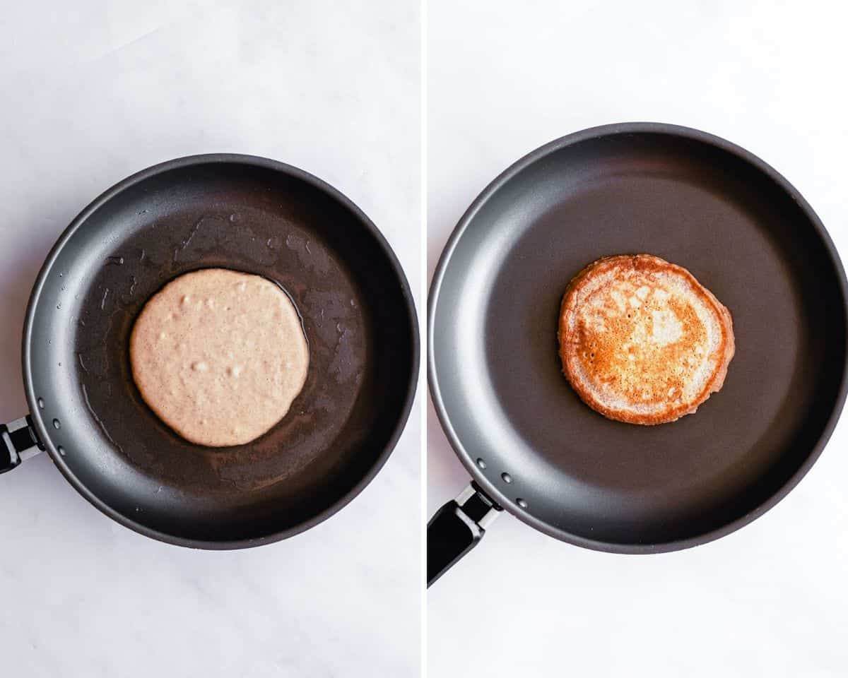 Pancake before being cooked on left, after being cooked on right.