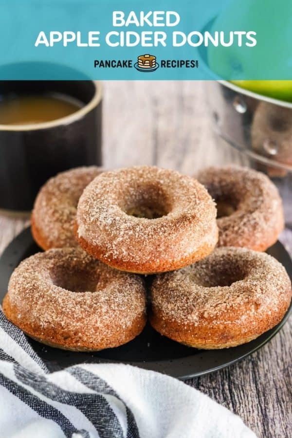 """Donuts on a plate, text overlay reads """"baked apple cider donuts."""""""