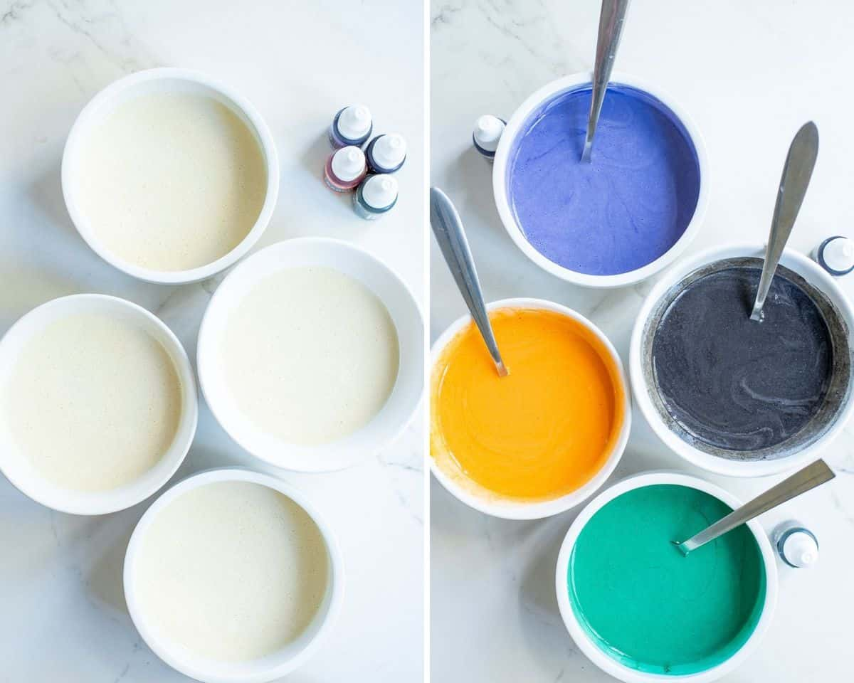 4 bowls of pancake batter before and after color is added to them.